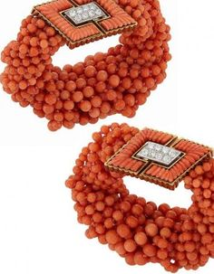 Pair of Multistrand Coral Bead, Gold, Platinum, Fluted Coral and Diamond Torsade Bracelets, Tiffany & Co