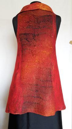 Double sided fire red orange dark brown nuno by AtelierLenaOM