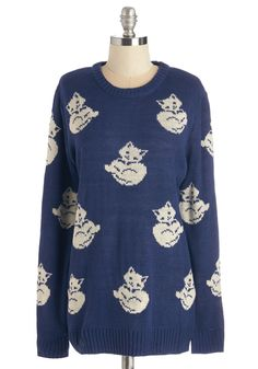 Cat's What I'm Talking About Sweater. This royal-blue sweater from Pepa Loves is both cozy and cat-printed - just the cute combo youre looking for! #blue #modcloth