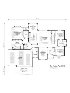 The Preston, Plan 2316 Luxury Bath, Preston, Square Feet, Great Rooms, Ranch, New Homes, Floor Plans, Flooring, How To Plan
