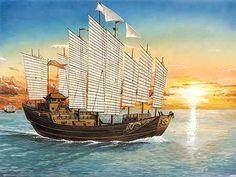 Zheng He aka Cheng Ho's Sailing Ship Zheng He, Junk Ship, Tug Boats, Asian History, Chinese Architecture, China Art, Armada, Tall Ships, Model Ships