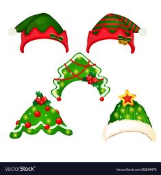 A set of hat and headbands in the style of Vector Image Christmas Hat, Christmas Photos, Christmas And New Year, Vintage Christmas, Xmas, Fall Crafts, Holiday Crafts, Crafts For Kids, Christmas Worksheets