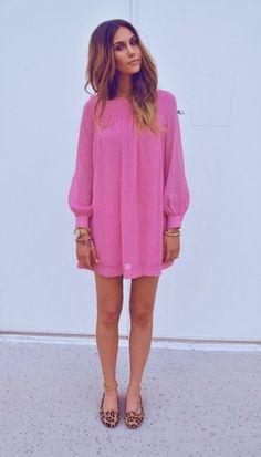Pink dress + leopard flats.
