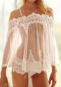 Solid Lace Floral Splicing Flare Sleeve Lingerie Set