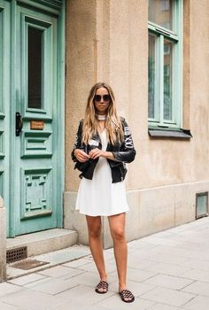 """nice Idée Tenue """"Day to night"""" : Jacket: lisa olsson blogger white dress mini dress leather date outfit slide shoes"""