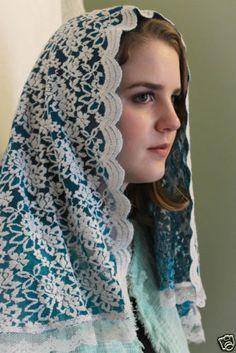 Chapel-Veil-Mantilla-Head-Covering-Latin-Mass-Floral-Blue-Cream-Sheer-Lace