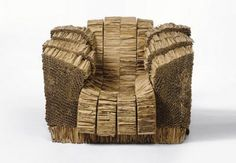 """Grandpa Beaver Armchair from the """"Experimental Edges"""" Series, designed by Frank Gehry in Corrugated cardboard and construction adhesive. Engraved with signature """"Frank Gehry Cardboard Chair, Cardboard Design, Cardboard Sculpture, Cardboard Paper, Cardboard Crafts, Cardboard Playhouse, Green Furniture, Cardboard Furniture, Frank Gehry"""