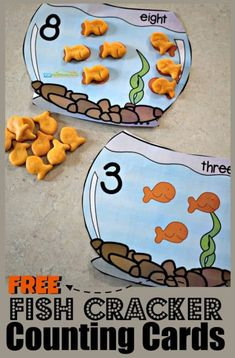 FREE Goldfish Counting Bowls - this is such a fun, hands on math activity for toddler, preschool, and kindergarten age kids for practicing counting to one to one discrimination, and more with yummy goldfish crackers Math Activities For Toddlers, Preschool Learning Activities, Preschool At Home, Free Preschool, Toddler Preschool, Counting For Toddlers, Ocean Activities, Water Theme Preschool, Toddler Games