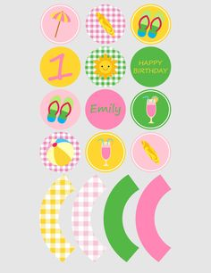 Printable cupcake toppers | Printable cupcake wrappers | Printable Party Circles | Beach pool Party | Customised Download PDF by JJPrintables on Etsy