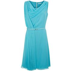 Fenn Wright Manson Hydrangea Dress ($155) ❤ liked on Polyvore featuring dresses, aqua, sale, sleeveless dress, pleated dress, cowl neck dress, blue dress and aqua blue dress