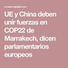 UE y China deben unir fuerzas en COP22 de Marrakech, dicen parlamentarios europeos
