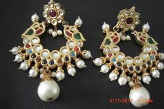 beautiful handcrafted multi gemstone ethnic indian Kundan earring with Navratan gemstones. $99.99, via Etsy.