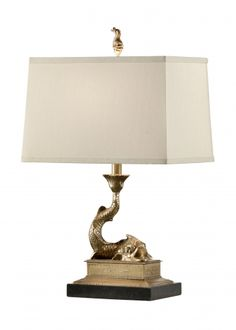 "MOUNTED DOLPHIN LAMP-RIGHT, Item #60318   MOUNTED DOLPHIN LAMP-RIGHT   Solid Cast Brass-Antique Patina Black Marble Mounting  Height 23.0"" (58.4 cm)  Shade: 8 X 13 - 9 X 14 - 9"