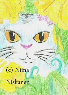 Peeking Cat - Flowers - Kitten - ACEO Art - Original Drawing - by Niina Niskanen