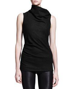 Sonar Wool Asymmetric-Neck Drape Top by Helmut Lang at Neiman Marcus.
