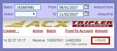 Ad Click Xpress is the top choice for passive income seekers.  Making my daily earnings is fun, and makes it a very profitable! This is not a scam and I love making money online with Ad Click Xpress. All new Ad Packs purchased with New Money will earn 4% per day, or 150% in just 44 days. Everything you need to make money online is here at ACX - a program that has been paying Daily Sales Commissions (DSC) for over four years. Here is my Withdrawal Proof from ACX Tripler.