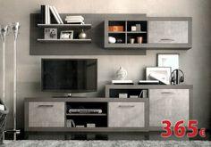 Composción de salón disponible en Ceniza-plata / Wengué-plata / Ceniza-negro.