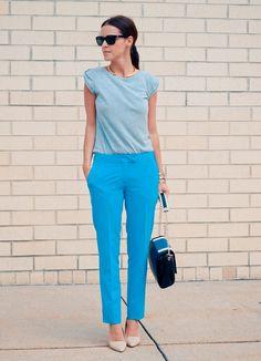 Бирюзовые и голубые брюки