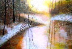 Golden frozen river at dawn by Marie-Line Vasseur