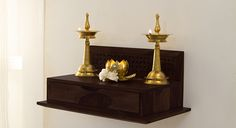 Devoto Prayer Shelf - Urban Ladder unit With Mandir Devoto Prayer Shelf - Ashtyn Wilderman I - internationally inspired Temple Design For Home, Mandir Design, Pooja Mandir, Pooja Room Door Design, Home Altar, Art Deco, Indian Living Rooms, Puja Room, Prayer Room
