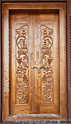 Pooja Door Design, House Main Door Design, Single Door Design, Wooden Front Door Design, Front Gate Design, Double Door Design, Wooden Front Doors, Temple Design For Home, Home Stairs Design