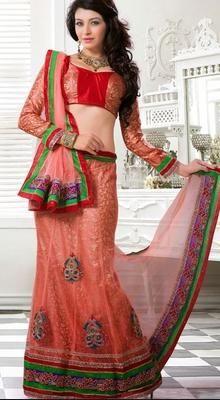 Embellished Tomato Net Choli Suit