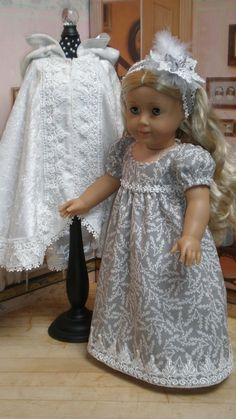 CAROLINE ABBOTT REGENCY Dress and cloak. There are tiny seed pearls on the sleeves and lace on this lovely dove gray dress -  by dollupmydoll