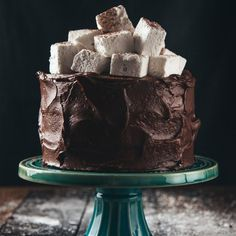 Layers of rich chocolate cake with gooey marshmallow fluff in between. Finished with fudgy frosting and a generous pile of homemade mallows!