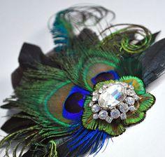 Royal Blue Peacock Hair Clip Bridal Head Piece by gildedshadows, $60.00