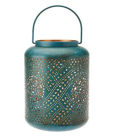 Loving this Teal Punched Pattern Flameless Candle Lantern on #zulily! #zulilyfinds