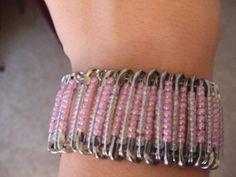 Safety pin bracelet by Jennifer Conn Safety Pin Bracelet, Safety Pin Jewelry, Safety Pins, Diy Jewelry, Beaded Jewelry, Jewelry Bracelets, Bangles, Safety Pin Crafts, Bracelet Designs