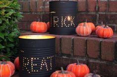 boîte de conserve, déco pour Halloween avec grandes boites en métal