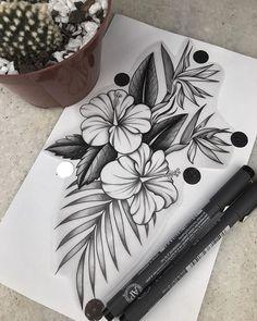 Hawaiian Flower Tattoos Watercolor Tattoos Hawaiian flower tattoos & hawaiianische blumentattoos & t Hawaiianisches Tattoo, Cover Tattoo, Arm Tattoos, Finger Tattoos, Tattoo Drawings, Body Art Tattoos, Cool Tattoos, Ocean Tattoos, Tribal Sleeve Tattoos