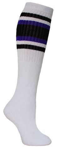 White knee high tube socks with purple & black stripes