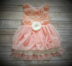 Coral Pink Toddler Dress Vintage Dress Flower by byFancyPants