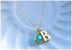 Ace & Ivy - $22.00 - Mint Initial Necklace - Gold Plated or Sterling Silver!
