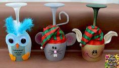 Wine Glass Candle Holders, Snow Owl, Christmas Mouse, Santas Elf