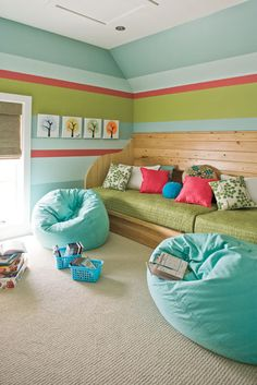 cool playroom idea, could be extra sleeping arrangements.