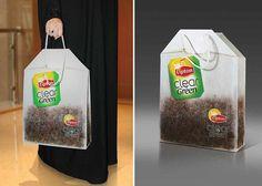 Smart marketing idea here, make a tote bag advertising Lipton Teas in the shape and design of a Lipton Tea Bag.