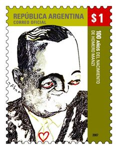 Stamp: Birth Centenary of Homero Manzi (Argentina) (Famous Argentinians) Mi:AR :AR 3054 Postage Stamps, Birth, Anniversary, Portraits, Argentina, Caricatures, Drawings, Argentine Tango, Stamps