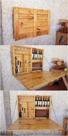 Incredible DIY Projects with Reused Wood Pallets To add something creative in the home folding bar furnishing through the wood pallet use, then choosing this amazing wood pallet folding bar design is the incredible option. Here the simple variation Diy Pallet Projects, Home Projects, Woodworking Projects, Diy Pallet Bar, Wooden Pallet Bar, Pallet Crafts, Pallet Creative Ideas, Pallet Ideas For Walls, Diy Pallet Kitchen Ideas