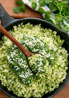 Cauliflower rice is flavored with homemade pesto sauce for an easy, delicious, low-carb and gluten-free dish. It's great to eat on its own or as a rice substitute for any meal. We eat cauliflower rice Low Carb Recipes, Diet Recipes, Vegetarian Recipes, Cooking Recipes, Healthy Recipes, Cauliflower Recipes, Cauliflower Rice, Vegetable Recipes, Side Dishes