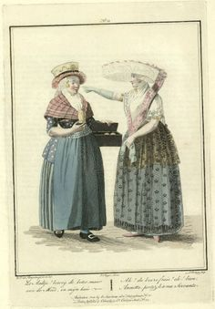 2 Dutch women, one selling butter, in The Batavian Republic (a.k.a. The Netherlands.). Engraved by Lodewijk Portman (1772 - ca. 1813), published in 1803.