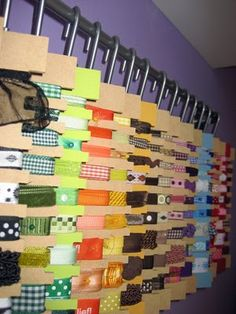 Ribbon Storage idea. Checked the website and they no longer sell these cards, but I'm sure it wouldn't take much to make some of my own.