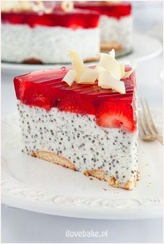 Deser z chia, owocami i galaretką #chia Sweet Recipes, Cake Recipes, Dessert Recipes, Healthy Desserts, Delicious Desserts, My Favorite Food, Favorite Recipes, Good Food, Yummy Food