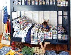 Madras Bedroom Shared Boys Room Bunk Beds!| Pottery Barn Kids
