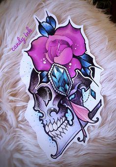 #neo #traditional #girly #tattoo #design #rose #flower #emerald #crystal #diamond #skull
