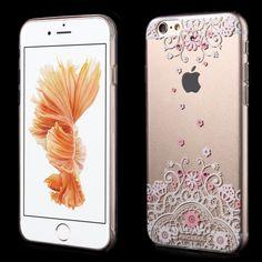 KINGXBAR plastový kryt na Apple iPhone 6 / 6S - růžový s květinami Swarovski.