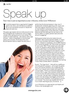 """I don't feel as it the photo matches the article as  """"The Yoga voice"""" is described as soft. The photo is over exuberant. There is also nothing drawing to to read this article. This could improve with font variation and more colors."""