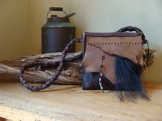Handmade leather purse.
